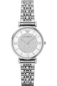 New-EMPORIO-ARMANI-Silver-Crystal-Pave-Dial-Stainless-steel-AR1925-Ladies-Watch