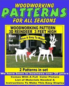 3d Reindeer 3 Feet High Christmas Woodworking Pattern Yard Art