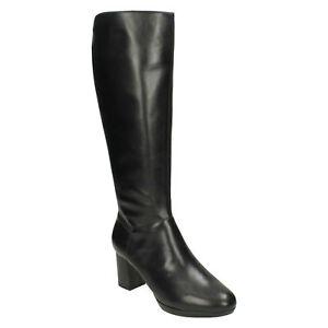 Estiramiento Botas Negro de cuero formal largas Señoras Kelda rodilla montar Clarks Longitud de Pearl de F0wvtX6xq