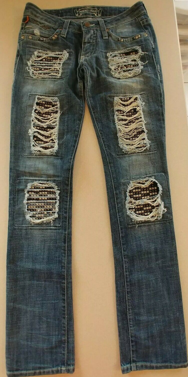 ROBINS Ripped Marilyn bluee Denim Jeans With Studded Detail Size 26