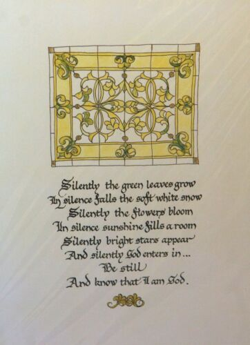 PJ Teller Old New Stock Print SILENTLY GREEN LEAVES GROW BE STILL KNOW I AM GOD
