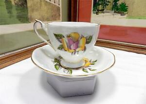 "QUEEN ANNE ENGLAND YELLOW AND PINK ROSE 2 7/8"" FOOTED CUP AND SAUCER SET"
