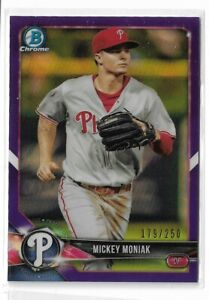 2018-Bowman-Chrome-prospects-purple-refractor-parallel-Mickey-Moniak-250
