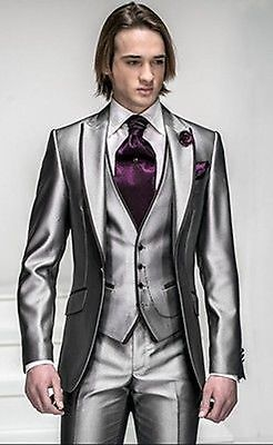 Slim Fit Silver Grey Satin Groom Tuxedos Best Man Groomsmen Men Wedding Suits