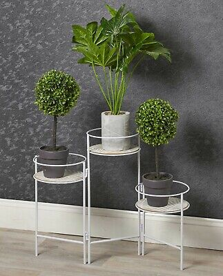 White Metal And Wood 3 Tier Plant Pot Stand Flowers Greener Indoors Display Item Ebay