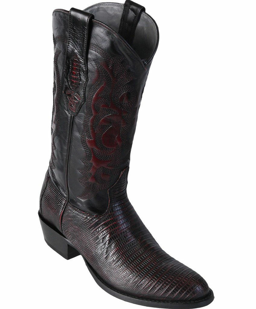 LOS ALTOS MEN CHERRY GENUINE TEJU LIZARD ROUND TOE WESTERN COWBOY BOOT D