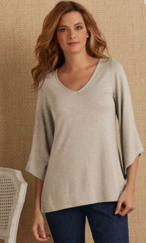 Soft Surroundings Tunic Top SZ XL Figure Friendly Taupe $80 NWT