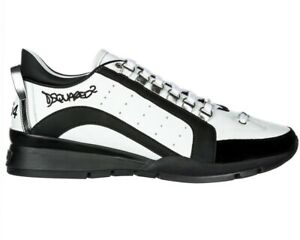 save off c9a21 a7d1e Details about Dsquared2 551 Sneakers Snm0404 M072 Leather Men's Dsquared  Trainers White Shoes