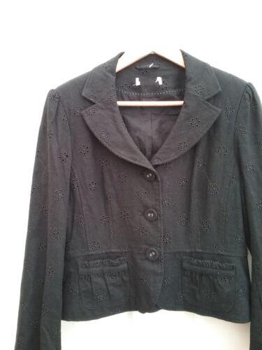 Una M Mélange Femme Coton Exce Mélangé Blazer Taille 8 Décoratif Lin Noir Per S fpqEB