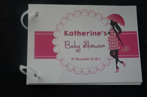 Personalised Baby Shower Guest Book Mum To Be Bump Theme 10//20  pages
