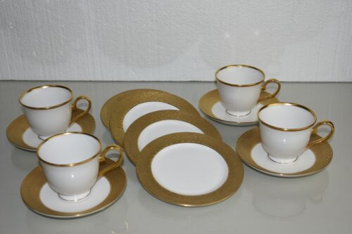 $935 NEW 12 Pc SET fo 4 Lenox Marchesa Mandarin 24K GOLD Cup Saucer Butter Plate