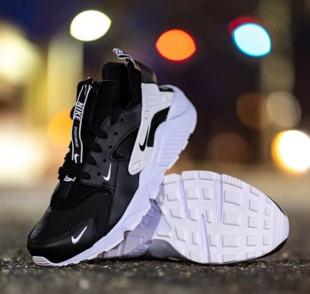 31d6dfdc0 Nike Air Huarache Run Premium Zip Mens Bq6164-001 Black White Shoes ...