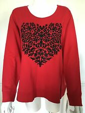 BNWT Style & Co Macy's VALENTINES sparkly black beaded heart red top 2XL