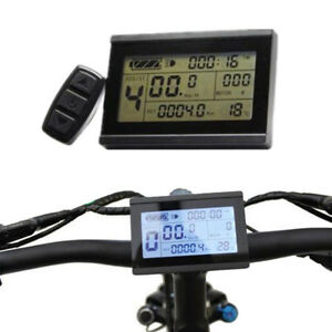 24-36-48V-Bicycle-eBike-LCD-Display-Meter-Panel-Remote-Control-Odometer-Flowery