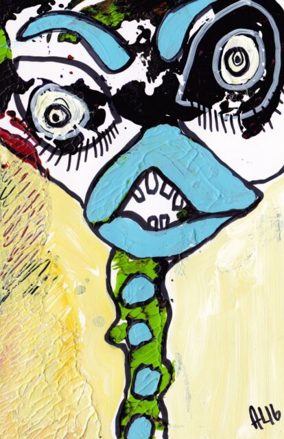 Original LABEDZKI abstract figurative painting outsider art TALL NECK 5x8 inch
