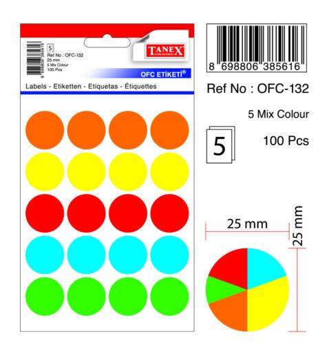 Ø 25 mm gemischte Farben TANEX OFC-132 Vielzweck Etiketten rund 100 Etiketten