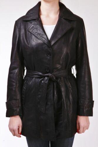 Trench Black vera in Designer Mac Ladies lunghezza di pelle media Classic BBrwZWn6