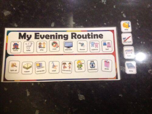 evening routine chart flashcards Autism ASD SEN educational visual reminder