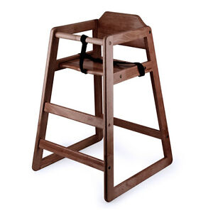Image is loading New-Restaurant-Style-Wooden-High-Chair-with-Dark-  sc 1 st  eBay & New Restaurant Style Wooden High Chair with Dark Finish | eBay
