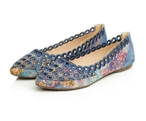 Details about  /Womens Slip On Loafers Flats Soft Comfort Casual Shoes Ethnic Floral Shoes New