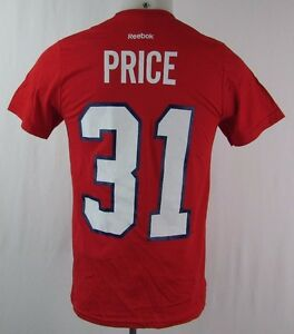 Montreal-Canadiens-Men-039-s-31-039-Price-Short-Sleeve-T-Shirt-NHL-Reebok-Red
