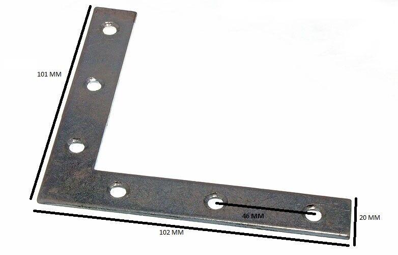 Soporte Tirante Plano Esquina 100mm X 16mm X 2mm 5mm Agujero Bzp Paquete de 25