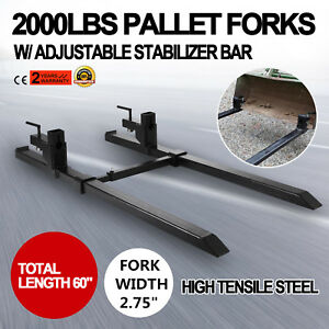 2000lbs-Clamp-on-Pallet-Forks-Loader-Bucket-Skidsteer-Tractor-Chain-Bar