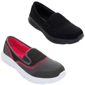 mirada detallada 00d08 854ad Detalles de Mujer Plano Deporte Gimnasio Ligero Zapatillas Cómodo sin  Cordones Zapatos para