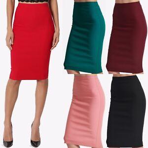 TheMogan-Women-039-s-S-3XL-Stretch-Woven-Elastic-High-Waist-Knee-Midi-Pencil-Skirt