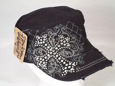 Women's Distressed Vintage Style Cross Rhinestone Bling Cadet Hat Cap - Black