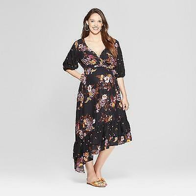 Target Isabel Maternity Black Floral Print Asymmetrical Hem Dress Pink Orange Ebay