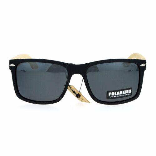 Polarized Lens Real Bamboo Sunglasses Matted Rectangular Frame UV 400