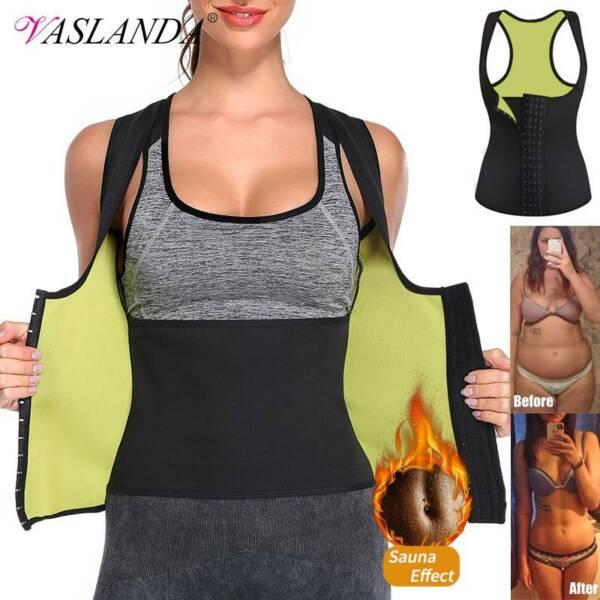 Damen Sauna Tanktop Taillenformer Neopren Abnehmen Shirt Bauchweg Weste Mieder
