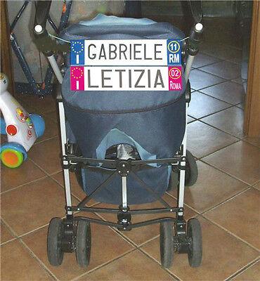 Aggressivo Baby Targa Per Passeggini Con Nome Del Bimbo / Bimba Personalizzato