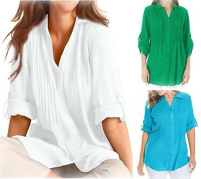 New Ladies Woman Within Cotton Shirt Roll Sleeve Blouse Top Plus Size 18-40