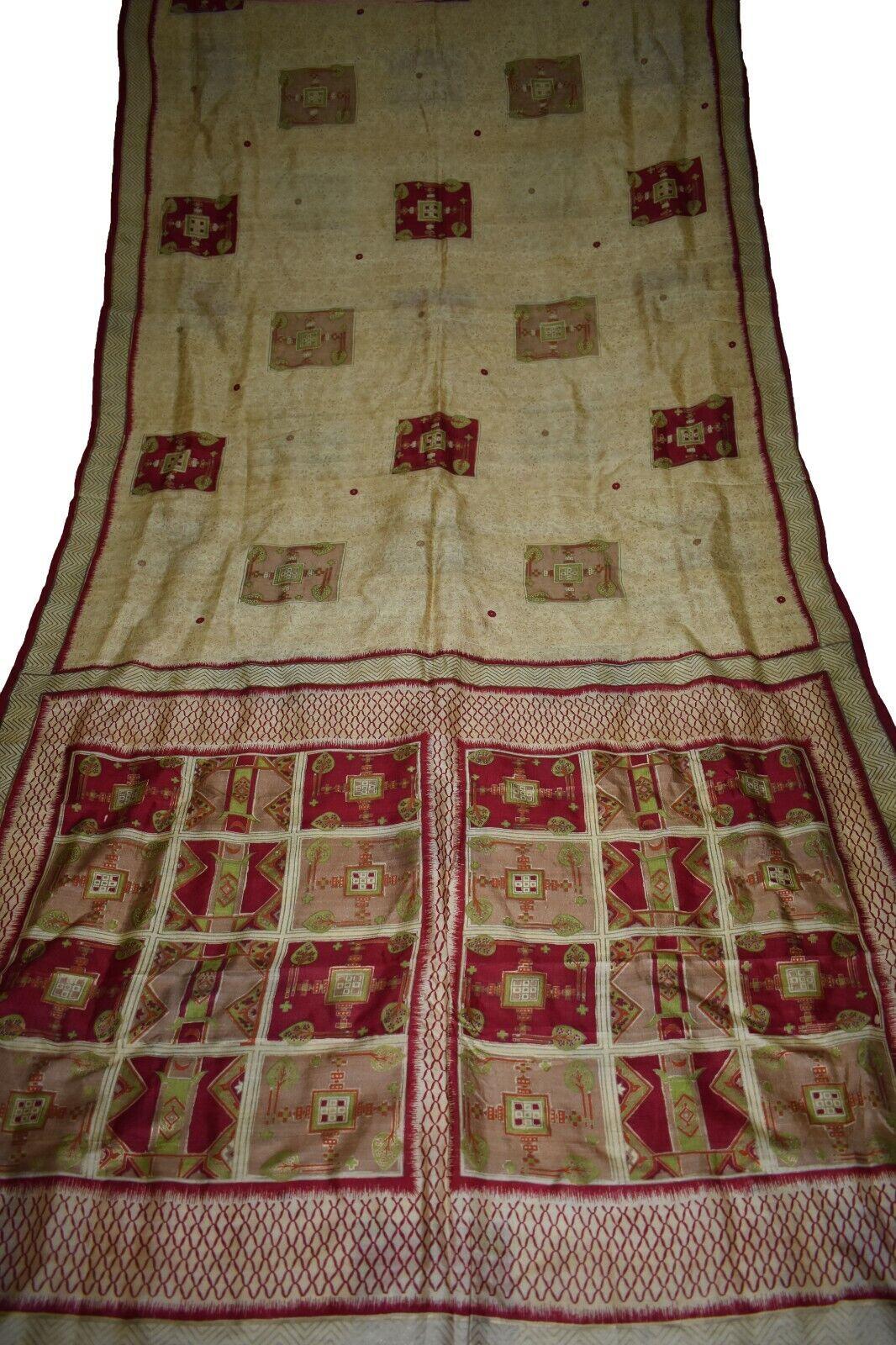 Vintage Printed Saree Brown Pure Silk Floral Print Sari Design Craft PR-5890