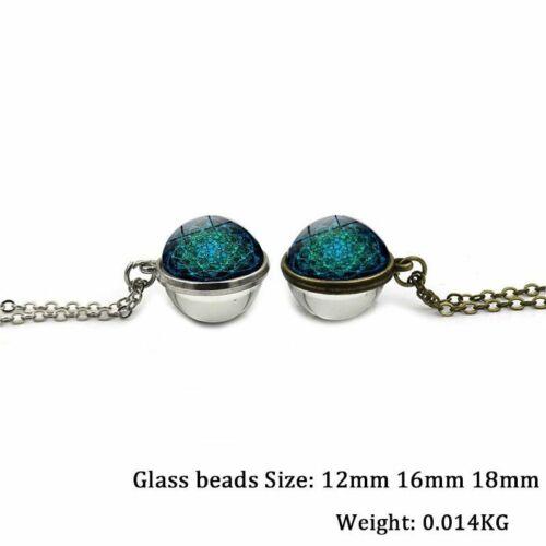 Flor de la Vida Colgante Collar Símbolo Charm Yoga Lindo Belleza Bola de Cristal