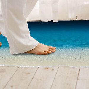 Entfernbarer-3D-Strand-Meer-Wand-Aufkleber-Fussboden-WohnzimmerD