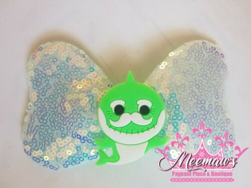 """Details about  /So Adorable 5/"""" Green Baby Shark White Sequin Sparkle Vinyl Hair Bow L@@K!!!"""