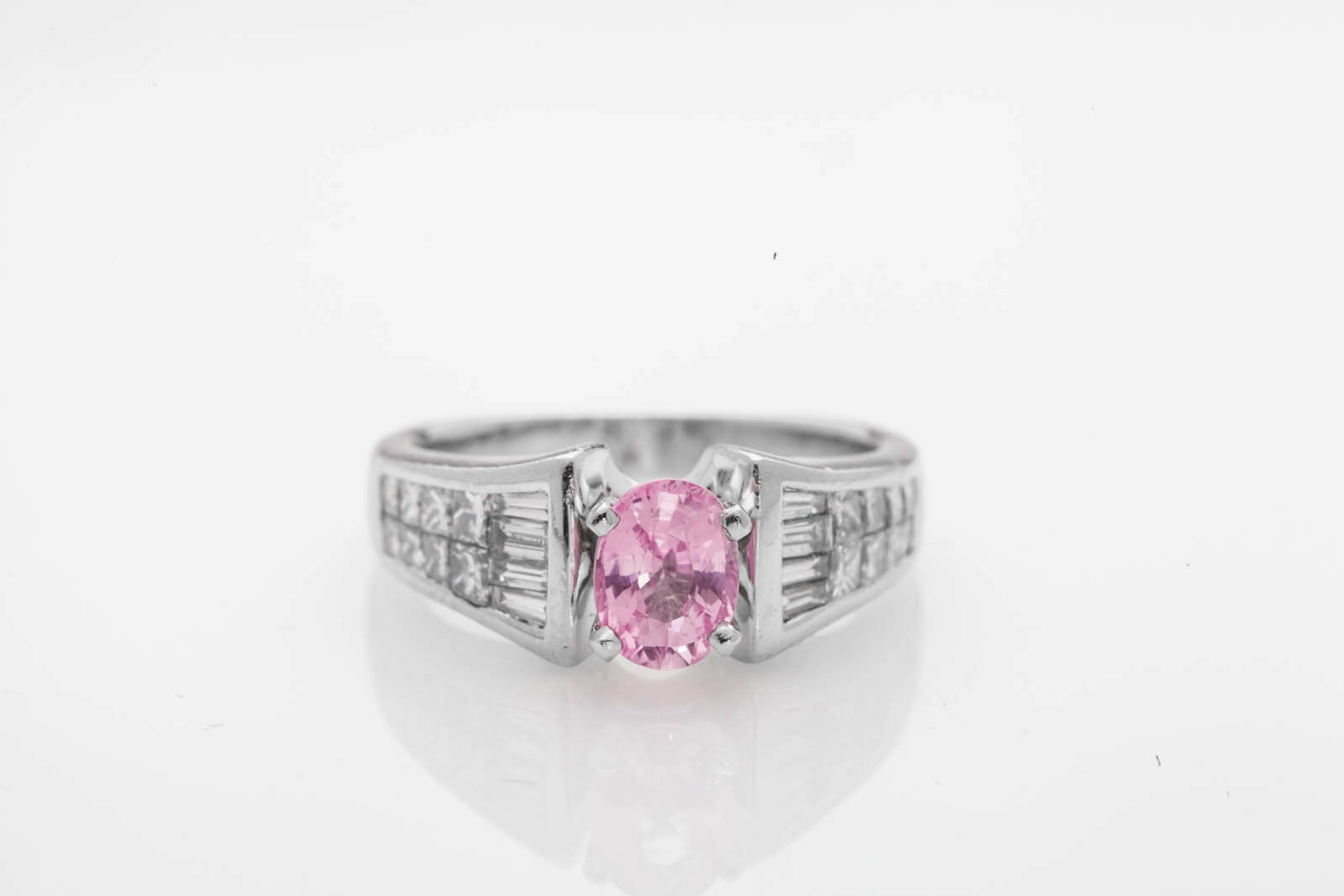 Estate  15,000 3ct No Heat Natural Pink Sapphire Diamond Platinum Wedding Ring
