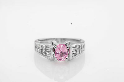 Estate $15,000 3ct No Heat Natural Pink Sapphire Diamond Platinum Wedding Ring