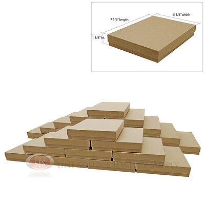 """Large 25 Brown Kraft Cotton Filled Jewelry Gift Boxes 7 1/8"""" x 5 1/8"""" x 1 1/8""""H"""