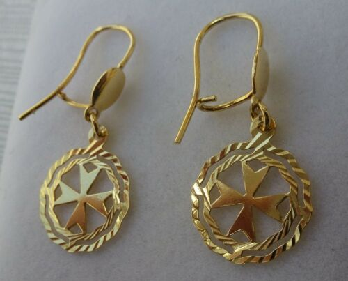 9ct 9k 375 Yellow Gold Maltese Cross Earrings with hook Great Price