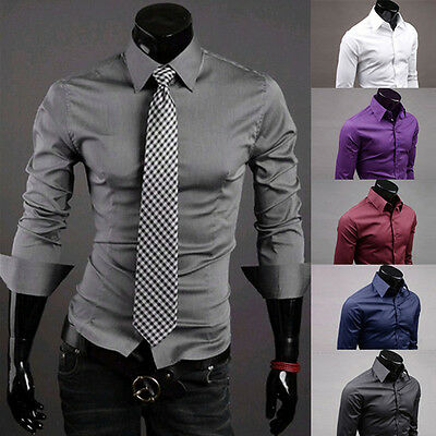 2014 New Stock Men's Casual Muscle Slim Long Sleeve Formal Dress Shirts Tops