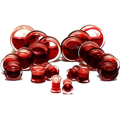 1Pair Blood Red Liquid Filled Double Saddle Ear Plugs Gauges Flesh Tunnels
