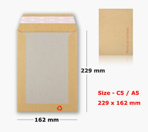 50 x A5//C5 PLEASE DO NOT BEND HARD CARD BOARD BACKED ENVELOPES MANILLA BROWN