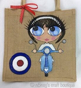 Hand Girl Jute Vespa Personalised Handpainted Mod Gift On Bag A Retro Handbag qcHHzgTaAx