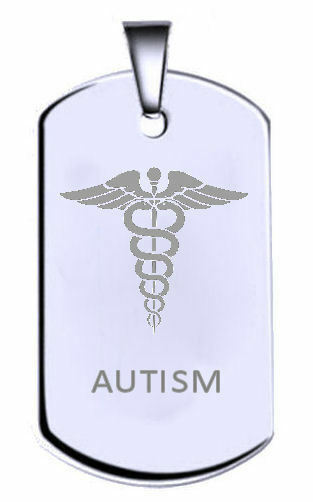 Autismo argentoo Sterling Inciso Nome Testo Army Army Army Dog Tag e5fd47
