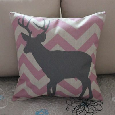 Grey Deer Pink Zig Zag Cotton Linen Cushion Cover Throw Pillow Home Decor B370