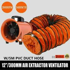 Portable 12 Industrial Extractor Fan Blower 5m Duct Hoses Ventilator Air Mover